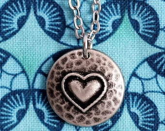 Cute Rustic Heart Necklace, Heart Charm Pendant, Repurposed Domed Metal Button Jewelry by Hendywood