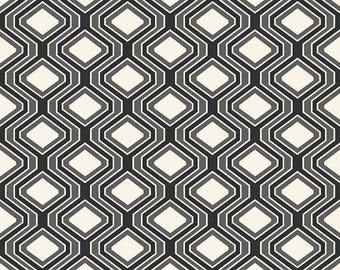 Riley Blake Geo Diamond Black Fabric, 1 yard