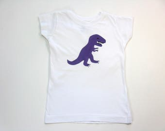 Purple Dinosaur T Shirt, Hand Painted T Rex on a White Cotton Tee or Top for Baby or Toddler, Dinosaur Theme Birthday Party Shirt