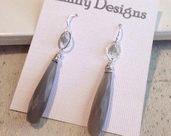 SOLD Storm grey chalcedony long drop earrings sterling silver