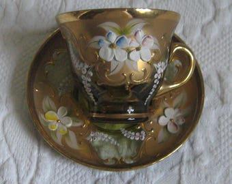 Czech art glass . bohemian glass cup . painted glass cup . glass demi cup . hand painted glass cup and saucer