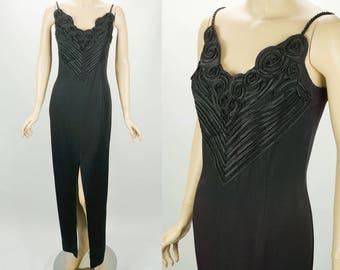 1980s Vintage Formal Gown Black Column Evening Gown by Scott McClintock Sz 10