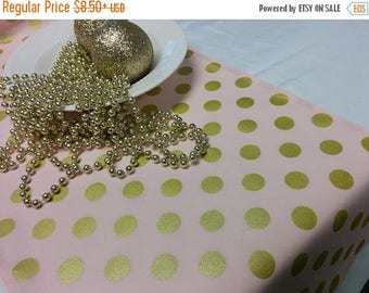ON SALE PINK Gold Dot Linens- Table Runner or Napkins -or Placemats -Centerpiece Rounds, Squares , Gold metallic polka dots on pink,  bridal
