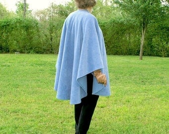 Very Pale Blue Anti Pill Fleece Wrap, Poncho, Shawl, Cape, Blanket Scarf or  Ruana--Soft and Cuddly--Lightweight Warmth--One Size Fits Most