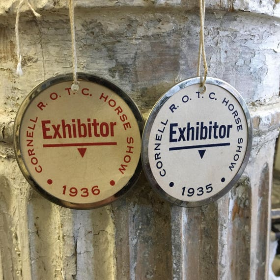 Vintage 19330s Cornell ROTC Horse Shoe Exhibitor Tags