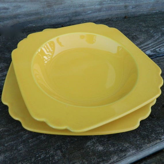 Vintage Homer Laughlin Harlequin Riviera Bowl and Plate in Bright Yellow