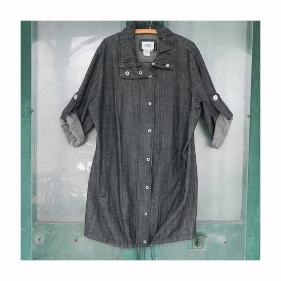 LAL Live a Little Coat Dress -2X- Dark Gray Cotton Denim