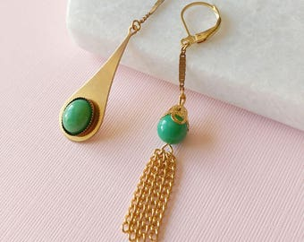 Green Mismatched Earrings - Asymmetrical Vintage Tassel Jewelry - Martha Earrings (SD1029)