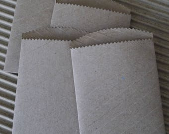 "100 x small paper bags 4.1/2""x 3"" brown kraft stripe favor treat merchandise bags,"