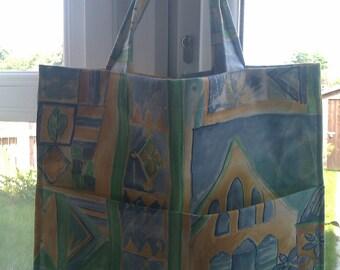 Shopping Bag - Market Bag - Grocery Bag - Green Cotton Fabric