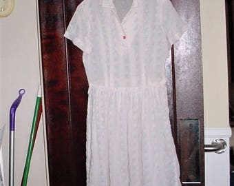 Vintage 50s White Gauze Thin Flower Stripe Dress M