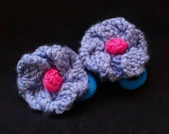 Hand Knit Pair of Purple/Pink Dogwood Flower Hair Ties