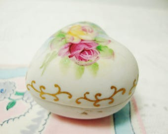 vintage porcelain heart ring box hand painted roses bisque ceramic