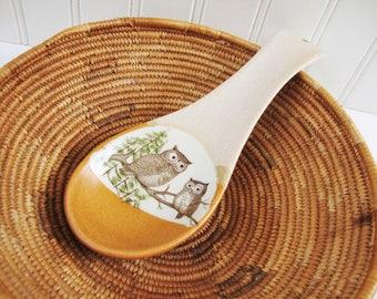 vintage spoon rest owls otagiri pottery spoon holder
