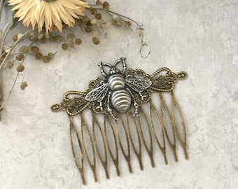 Bee Hair Comb, Decorative Comb, Silver Bug, Bumble Bee Comb, Nature Inspired, Woodland Wedding, Insect Hair Comb, Bee Wings, Gifts For Her