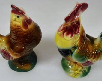 Matched Set of Ceramic Rooster and Hen - Ceramic Figurines