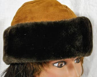 North King JJ Seifter and Sons Brown Suede with Dark Brown Fur Hat With Ear Flaps - Medium Size - Vintage