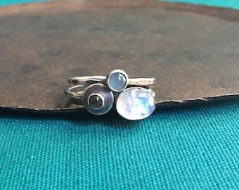 stacking ring set. tiny rainbow moonstone, labradorite & aquamarine