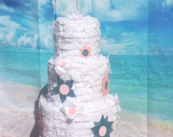 CUSTOM COLOR White Large Wedding Cake Piñata 17X11X11 inches