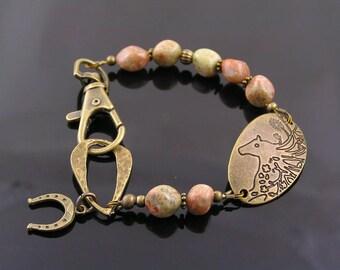 Jasper Beaded Bracelet with Horse Pendant, Jasper Bracelet, Jasper Jewelry, Horse Jewelry, Horse Shoe Bracelet, Gemstone Bracelet, B294