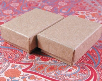 STOREWIDE SALE 100 Pack Kraft Cotton Filled Jewelry Presentation Boxes 1.85X1.25X5/8 Inch Size Itty Bitty Boxes