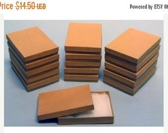 STOREWIDE SALE 20 Pack Cotton Filled Kraft Color Jewelry Gift and Retail Boxes 5.25 X 3.75 X 1 Inch Size