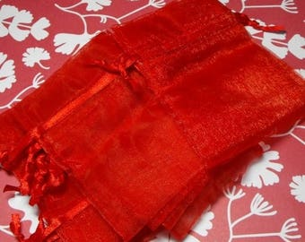 STOREWIDE SALE 12 Pack Red Sheer Organza Drawstring Bags  Great For Halloween Time Gifts