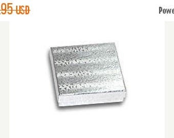 New Years Sale 100 Pack Silver Foil 3.5 X 3.5 X 1 Inch  Size Cotton Filled Jewelry Presentation Gift Boxes
