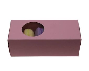 New Years Sale 5 Pc Pretty Pink Cut Out Circle Window Front Macaron Boxes with Inserts 6 1/4 x 2 1/4 x 2 inches