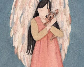 Yorkie cradled by angel / Lynch signed folk art print