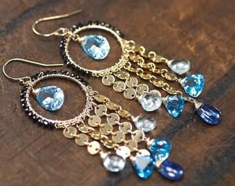 Summer SALE Swiss Blue Topaz earrings, Sky Blue Topaz, Aquamarine, Kyanite, Black Spinel, 14k gold filled hooks, Blue earrings ... ZIARRE Ea