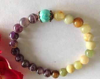 ON SALE Amethyst and Agate Yoga Mala Bracelet
