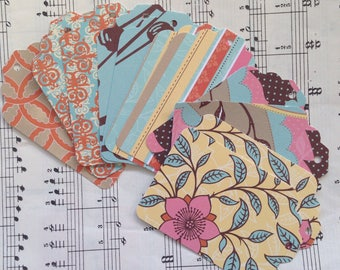 Lizzie Tags - Set of 12, Snail Mail, PL, Scrapbooking, Card Making, Planners, Art Journaling, Gift Tags