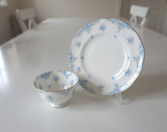 Vintage Side Plate & Open Sugar Bowl Crown Staffordshire  Full Size Blue Pink Floral Forget Me Not -  EnglishPreserves