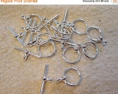 ON SALE Silver Plated Toggle Clasps 15mm with 20mm Bar 6 clasps