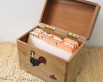 Recipes and Rooster. Vintage 1960s mid century modern wood recipe box.