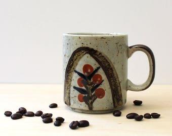 Red Berries. Rustic 1970s stoneware coffee mug.