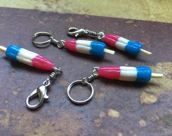 You Da BOMB POP! Handsculpted Miniature Bomb Pop Stitch Markers for Knitters & Crocheters