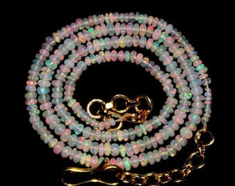 """Sale 45% off 20"""" 24.33 ct 2-3 mm Natural Multi Flashy Ethiopian Welo Fire Opal Smooth Rondelle Beads Necklace, Extreme Insane Fire NOB161"""