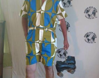 Mens Romper shorts  42 L  polkadot mod hipster Anna Herman USA jumpsuit cotton