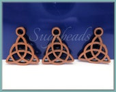 10 Celtic Charms - Celtic Triquetra Antiqued Copper - Celtic Knot Charms 16mm PB8a