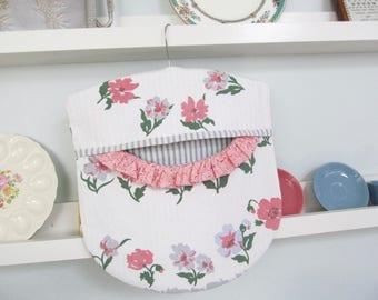 Clothes Pin Peg Bag - Pink Blue Grey Floral  - Repurposed Vintage Tablecloth & Wood Hanger - Cottage Shabby