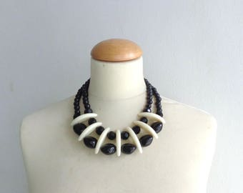 Cream black bib necklace, colourful chunky necklace, modern tribal necklace, statement black ivory necklace