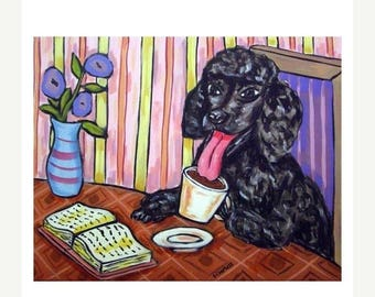 20 % off storewide Poodle at the Coffee Shop Cafe Dog Art Print   JSCHMETZ modern abstract folk pop art AMERICAN ART gift