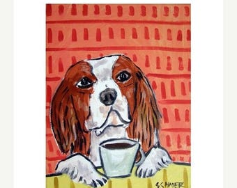 20% off storewide Cavalier king Charles Spaniel at the Coffee Shop Dog Art Print