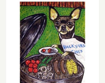 20% off storewide Chihuahua at the Cook Out Dog Art Print