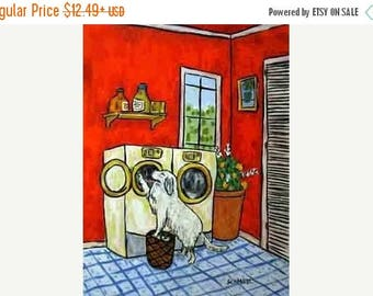 20% off Great Pyrenees Doing the Laundry Dog Art PRint