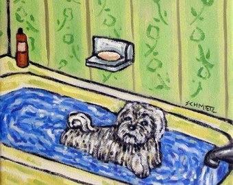 Maltese Taking a Bath Dog Art Tile Coaster  JSCHMETZ modern abstract folk pop art american ART
