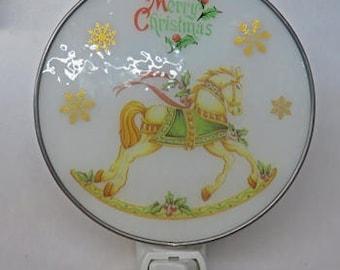 Christmas Night Light - Christmas Rocking Horse Glass Nightlight -  Fused Glass Rocking Horse Nitelite