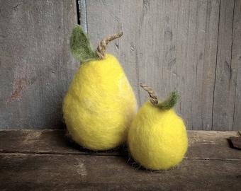 Needle Felted Pears Pear Fruit Farmhouse Decor Wedding Gift Decorating